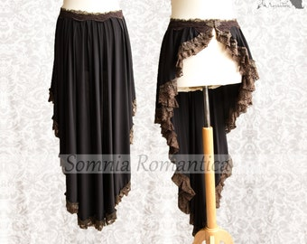 Skirt Victorian Steampunk, goth wrap skirt black brown, bustle, Maeror, Somnia Romantica, size medium see item details for measurements