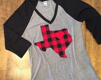 V-neck Shirt with Buffalo Plaid Texas