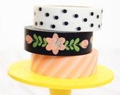 Black White Coral Washi Tape Set Black Dot / Coral Floral Swag / Coral Diagonal Stripe