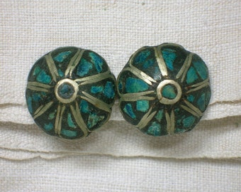 Tibetan Button Earrings, Clip-On, Turquoise Chips, Non Pierced