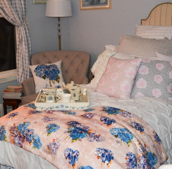 Throw Blanket, Blanket, Winter purple, lavender and blue Hydrangeas on Blush with white French script