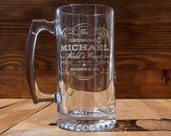 Four Beer Mugs for Groom's Men Party Set of Four Custom Engraved Beer Mugs