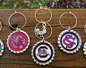 """Set of 6 South Carolina Gamecocks inspired wine glass charms for the wine lover in your life....Includes """"game cock"""" charm"""
