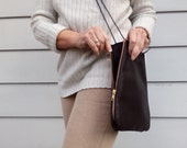 Small Leather Tablet Purse Bag, Crossbody, Expandable zipper, zipper pocket