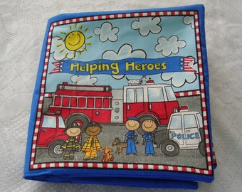 Helping Hero Policeman Fireman Quiet Soft Cloth Baby Toddler Story Book Handmade Ready to Read