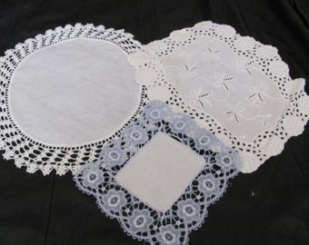 "Lot of 3 Assorted Handmade Vintage Crocheted Linen Doilies 7"" to 12"" -  #23A"