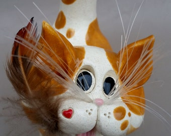 Orange tabby figurine, sculpture, Clay kitty, hand made, hand sculpted, unique cat, by Pencepets, Pence animal sculptures