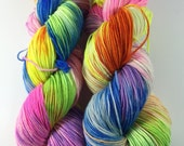 Sport Socks, SW Merino & nylon, sport weight, sock yarn, superwash merino, Neon Rainbow Dreams