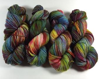 Light Worsted, DK, Superwash Merino, 100 grams, Hand Dyed Yarn, Taste The Rainbow, double knitting