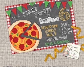 Pizza Party Birthday Invitation *Custom Birthday Invite for Kids*  DIY printable invitation for kids, teens, adults