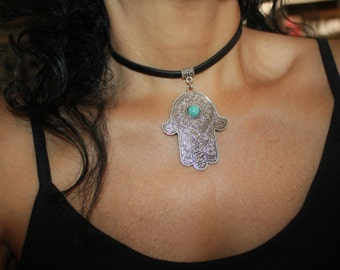 Hamsa necklace, Hamsa charm necklace, evil eye charm necklace, evil eye, silver hamsa, hamsa charm