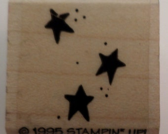 Stampin Up 1995 Falling Stars Star Light Star Bright Wooden Rubber Stamp
