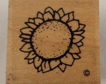Sun Flower Garden Botanical  Wooden Rubber Stamp