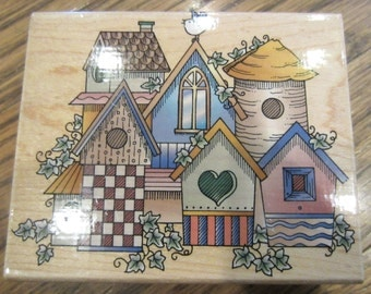 Hero Arts Birdhouse Village H1153 Wooden Rubber Stamp