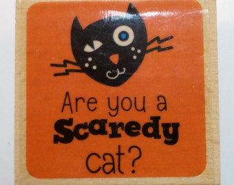 Studio G Are you a Scardy Cat? Black Cat Halloween Themed Wooden Rubber Stamp