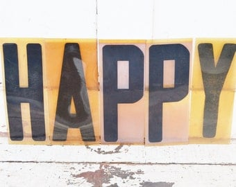 "Vintage Happy Sign Marquee Word Letters Plastic Black Yellow Orange 9"" Acrylic Aged Patina Wall Window Party Fall Decoration"