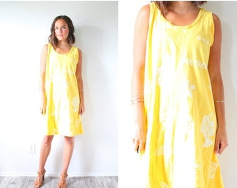 20% OFF BIRTHDAY SALE Vintage southwestern yellow dress // yellow fish print dress // beach dress // Mexican summer swim cover up dress sout