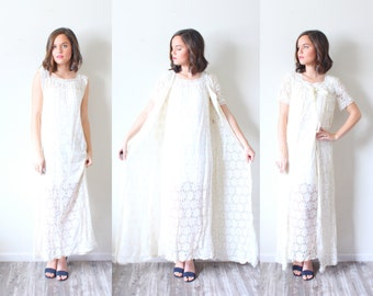 Vintage white lace night gown dress // lace nighty // daisy floral nightgown // two piece set //  boho elegant dress modest // short sleeve