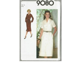 70s Dress and Tie Belt UNCUT Sewing Pattern Size 16 Bust 38 or 18 Bust 40 Simplicity 9080 Short or Long Sleeves Shawl Collar