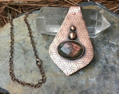 Rose Cut Labradorite Necklace | Etched Copper Flower of Life | Sacred Geometry Jewelry