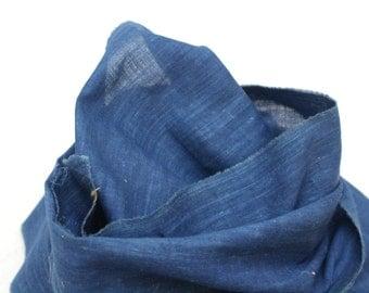 LONG Japanese Indigo Cotton. Artisan Aizome Textile. Vintage Hand Made Fabric (Ref: 1337C)