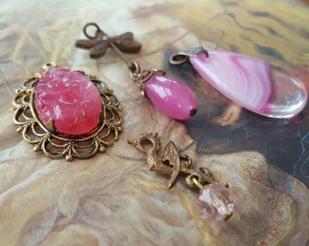 4 Vintage Pink Czech & Art Glass Pendants and Pieces UPCYCLED
