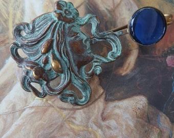 Vintage Nouveau Woman Brass Artisan Pin Brooch