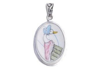 Broken China Jewelry Beatrix Potter Jemima Puddle Duck Sterling Pendant
