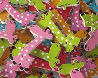Giraffe Wood Buttons Mixed Lot of 10