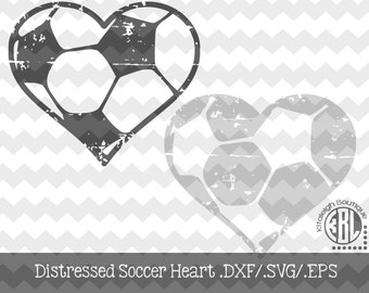 Soccer Heart Distressed INSTANT DOWNLOAD in dxf/svg/eps for use with programs such as Silhouette Studio and Cricut Design Space