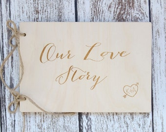 Our Love Story Photo Album Rustic Bridal Shower Gift Custom Photo Album Rustic Wedding Gift Photo Album #DownInTheBoondocks