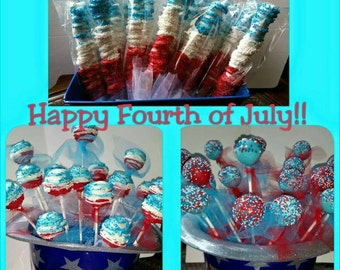 Fourth of July party pack 4 Dz independence day party favors 2 dz red white and cake pops and 2 dz independence day pretzels.