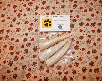 """3 Organic Small Elk Antler Dog Chews """"Made in Montana"""" (Lot D24)"""