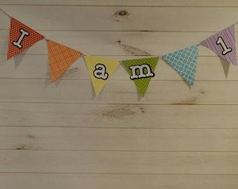 I Am One banner, First birthday banner