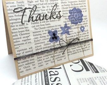 Newspaper Thank You card with Flowers