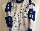 Police Box Scarf,Womens Scarf, Infinity Geek Scarves, ROOBY LANE