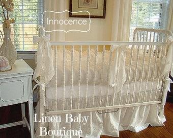 Linen Baby Bedding 3 Pieces. Linen Crib Bedding 3 Piece Set. Skirt, Bumpers, 3 Decorative Bows.