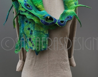 Felted green scarf,  hand dyed OOAK wearable art accessory, handmade women's statement shawl, outstanding fashion accessories