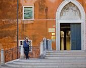"Venice gondolier, Venice art print, Venice Italy, travel photography - ""The Gondola Maker"""