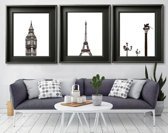 "Travel photography, travel gallery wall art, London, Paris, Venice - ""Three Cities Inkscape"""