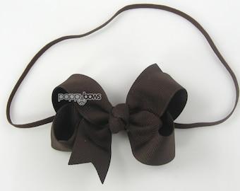 """Baby Headband, brown headband, toddler headband, 3"""" 3 inch bow headband, newborn headband, infant headband, skinny elastic girls headband"""