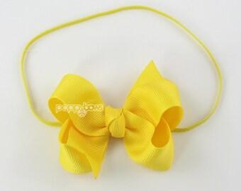 "Baby Headband, yellow headband, toddler headband, 3"" 3 inch bow headband, newborn headband, infant headband, skinny elastic girls headbands"
