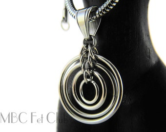Stainless Steel, Ripples Day Pendant (Chain not included)