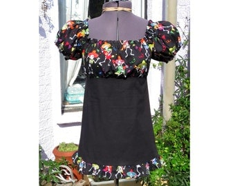 SALE sombrero skeleton top. day of the dead babydoll top. peasant blouse One of a kind
