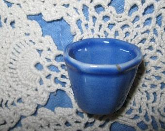 Miniature Doll House Blue Ceramic Planter