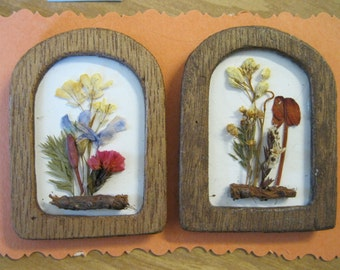 Doll House Miniature Dried Flower Wall Hanging #22 Set Of Two