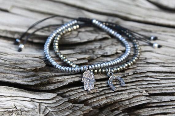 Diamond Hamsa Bracelet Pave Diamond Friendship Bracelet Gemstone Beaded Bracelet Boho Bohemian Jewelry Sterling Silver Fatima Hand Bracelet