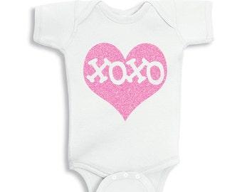 XOXO Inside Pink Glitter Heart Valentines Baby bodysuit