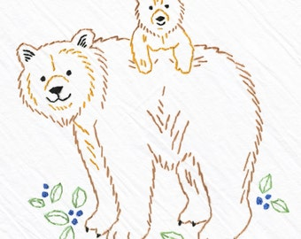 Bears Tea Towel Embroidery Kit, Brown Bear and Cub, Beginner Embroidery Kit, DIY Sewing, Hand-Stitching - Heidi Boyd