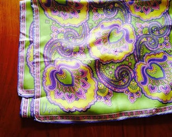 Boho Vera Scarf in Purple, Green, Pink, Yellow, 100% Silk Rectangular Scarf by Vera Neumann 1970
